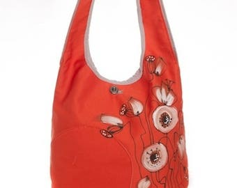 Shoulder bag poppies, fabric red orange, delicate style