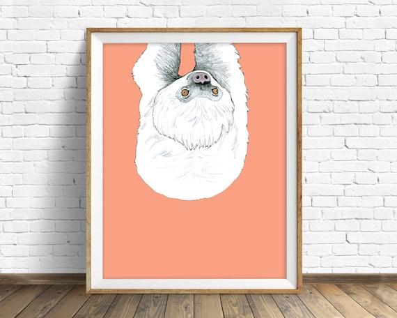 "sloth, sloth art, art print, kids room art, large art, large wall art, nursery decor, nursery wall art, animal prints, art print - ""Sloth"""