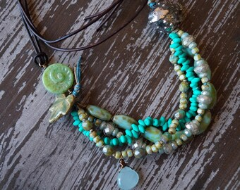 Under The Sea Necklace - Fish Jewelry - Turquoise and Emerald Green - Multi Strand Necklace - Green Beach Necklace - Bead Soup Jewelry