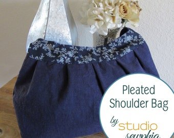 Pleated Blue Shoulder Bag