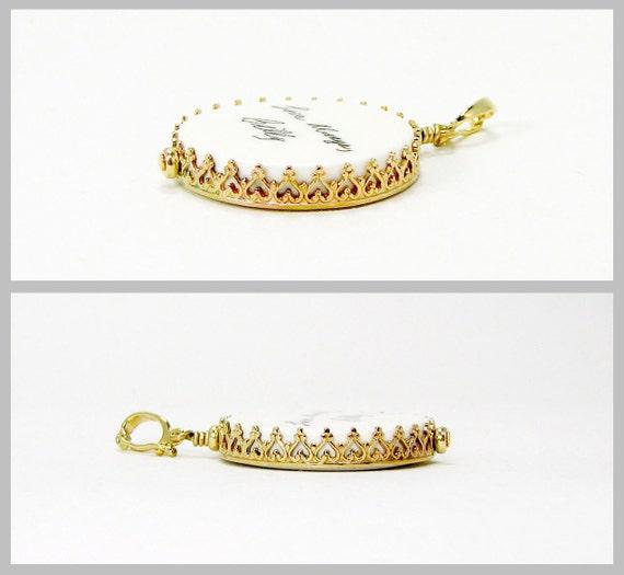 Custom 14K Gold Princess Framed Photo Pendant - Medium - FP16PG