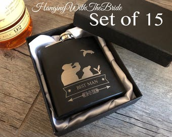 Personalized Flask, Customize flask, Gift Box, Groomsmen Flask Set, Gifts for Groomsmen, Monogram Flask, Duck Hunt , Gift for Dad, Best Man