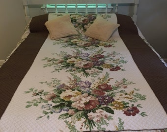 Antique Floral Bedspread ~ Cyrus Clark Bedspread  ~ Floral Spread Full Size ~ Quilted Rare ~ Shabby Chic ~ Romantic Homes ~ Farmhouse