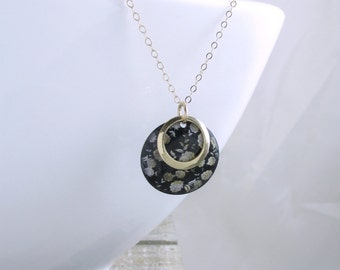 Solid 14k Gold Necklace Black Gold Floral Necklace Boho Chic Gold Pendant Necklace Bohemian Jewelry Statement Necklace Holiday Gift For Her