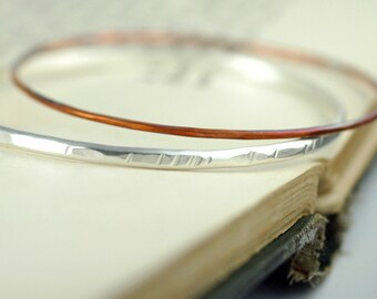 Stacking Bangle Bracelets  - Mixed Metal Stacking Bangles -  Sterling Silver and Copper - Boho Rustic Style - stackable bracelets - B1019