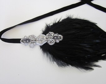 Gotham City Headbands, Silver 1920s Headpiece, Bridal Headpiece black feather fascinator Great Gatsby Dress, Headband Flapper Headband