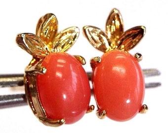 Natural Australian Opal Hearts 14K Gold Post Earring Studs