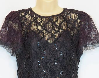 Vintage BLACK LACE DRESS, Sequins, fitted waist full flare skirt
