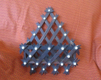 Antique vixtorian wood lattice wall pocket with ceramic button tacks, trim