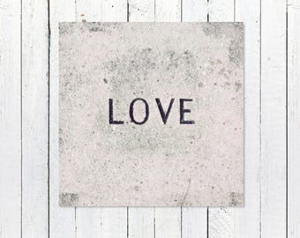 Love Print Wall Art Gift for Her | Black + White Photography | Home Decor Art Print | Nursery Art Decor | Housewarming Gift | Love Stone