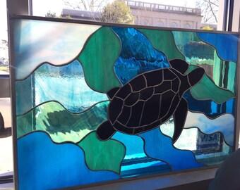 Sea Turtle Stained Glass Panel Suncatcher