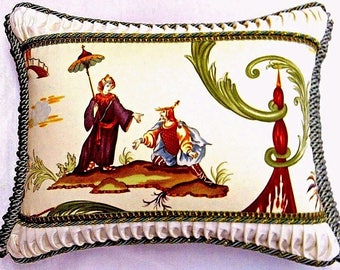 Couwtan & Tout. Chinoiserie Toile Designer Pillow W/insert
