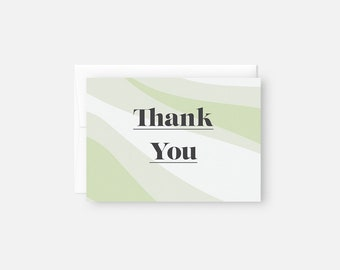 Modern Thank You Cards Bulk / Green Thank You Notes / Bridal Shower / Baby Shower / Thank You Card Pack / Graduation Party