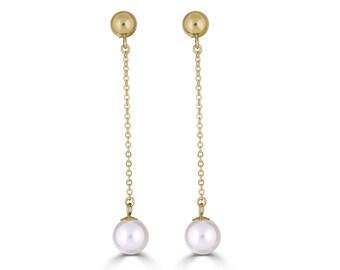 Chain Earrings, Gold Chain Earrings, Chain Stud Earrings, Pearl Dangle Earrings, Bridesmaid Earrings Pearl, Maid of Honor Gift, Sada Jewels