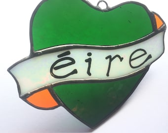 Green, white & gold éire love heart