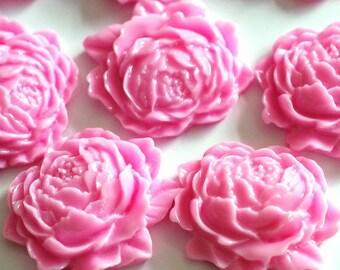 10pcs Pink Mum Peony Flower Cabochons 25mm