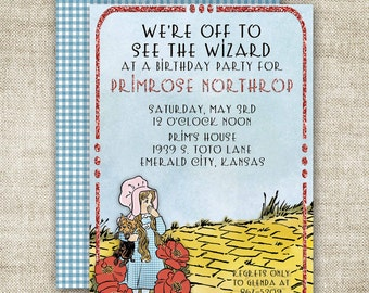WIZARD OF OZ Birthday Party Invitations Ruby Slipper Custom Printable Digital Cards - 89624561