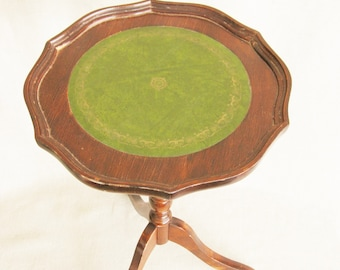 Vintage Sheridan Style Candle Table, Small Round Side Table, Green Leather Top, Tripod Legs, Stately Home, Masculine, Occassional Furniture