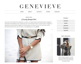 "Wordpress Theme Premade Blog Template Design - ""Genevieve"" Instant Digital Download"