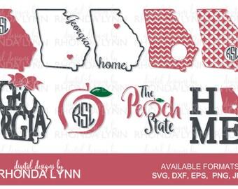SALE! Georgia State Monogram Cut File, Georgia State SVG, dxf, png, The Peach State SVG, Georgia State Digital Download, Georgia State Frame