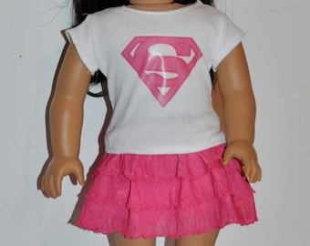 Super girl skirt and top outfit  that fits AMERICAN GIRL DOLLS