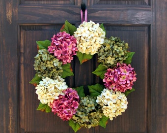 Rose Pink, Cream and Green Artificial Hydrangea Wreath for Spring Summer Front Door Porch Decor; Small - Extra Large Sizes