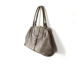 1950s purse, Leather purse, 50s purse, 1950s bag, 50s bag, women's bags, women's purse, Kelly bag, leather bag, olive purse, brown purse