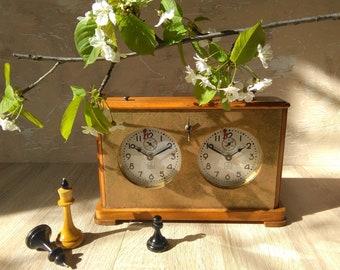Vintage Chess Clock,Soviet Chess,Wooden Chess,Mechanical Сhess Сlock, Chess Game,Outdoor Game,Chess USSR, Vintage Chess, Gift