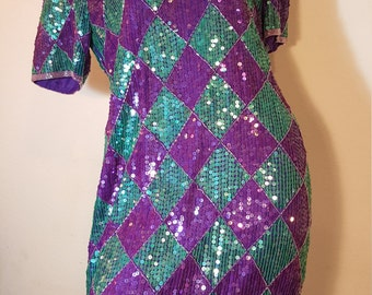 FREE  SHIPPING  1980 Abstract Sequin Dress