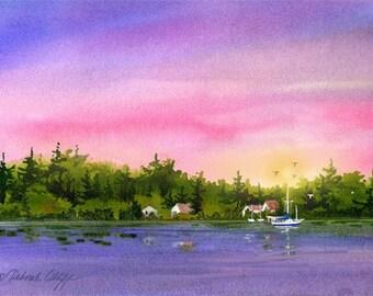 Sailboats // Watercolor // Karins Dream // Colorful Sunset Sky // Island // Calm Watercolor Print