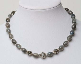 LABRADORITE OVAL Beaded Necklace with Silver beads- Genuine Natural Stones- Yoga Jewelry- Gift for Women