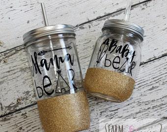 Mama Bear and Baby Bear mason jar set // Mason Jar mug // Glitter Dipped