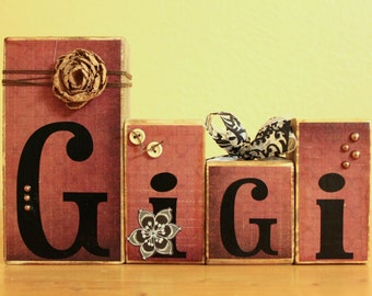 Vintage Gigi Blocks Grandma Personalized Gift Mothers Day Gigi Gift Nana Custom Gigi  Rustic Gigi Gift  Unique Gigi Best Gigi- Birthday Gigi