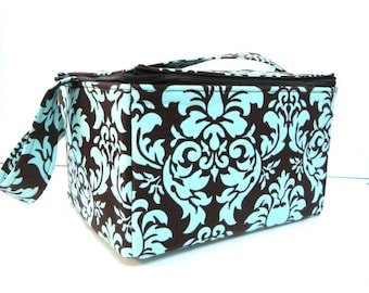 Coupon Organizer Super Large 6 inch Depth Fabric Coupon Organizer Tote  - With ZIPPER CLOSER  Blue and Brown Dandy Damask