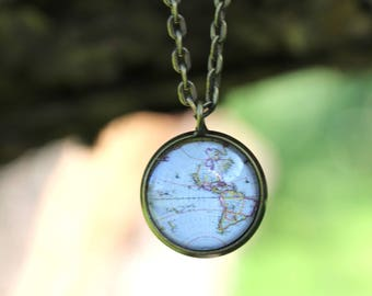 World map necklace etsy world necklace world map necklace map necklace travel the world necklace map gumiabroncs Gallery