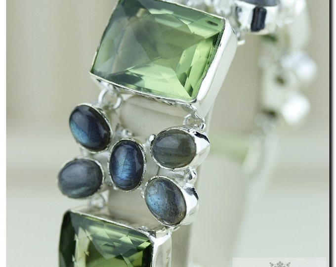 Rectangle Shaped Checkerboard Cut 252 Cts PRASIOLITE Green Amethyst Labradorite 925 SOLID Sterling Silver Bracelet & FREE Shipping b238