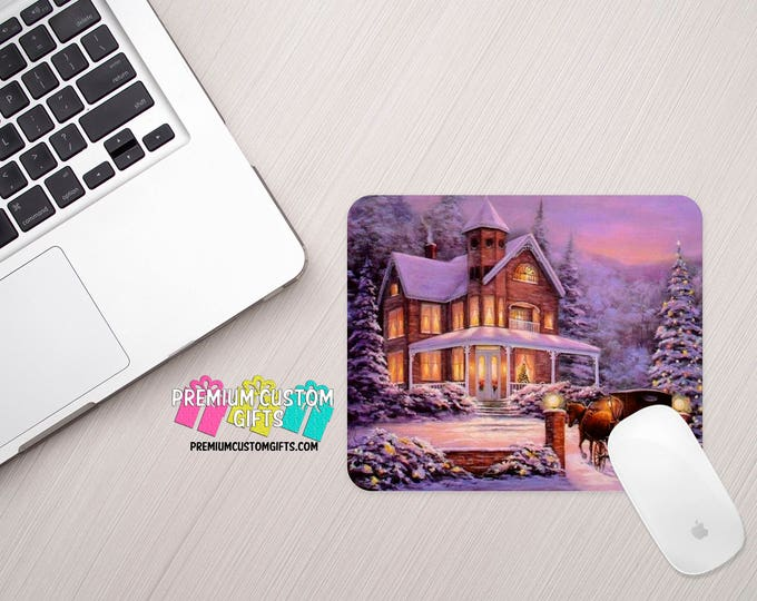 Christmas Scene Mouse Pad - Custom Mouse Pad - Personalized Mouse Pad - Computer Desk Accessory - Christmas Gift - Office Gift - Mousepad