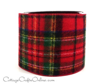 """Christmas Wired Ribbon 4"""" Red and Green Flannel Style Tartan Plaid - TEN YARD ROLL - d stevens """"Scottish Plaid"""",  Craft Wire Edged Ribbon"""