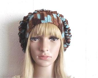Earth N Sky Crochet Slouchy Hat, Crochet Womens Slouchy Hat Beanie, Womens Knit Beanie, Winter Hat by Vikni Designs
