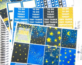 Starry Night Weekly Kit | Planner Stickers, Weekly Kit, Vertical Planner Kit, night sky weekly kit, star weekly kit, celestial weekly kit,