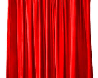 Bright Red Velvet 120 H Curtain Long Panel Drapes Extra Length Custom Made Movie Theater Studio Decor Prop Room Display Wall Cover Drapery
