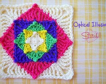 Optical Illusion Square Crochet Pattern | Crochet Granny Square Pattern | Crochet Square Pattern | Crochet Pattern | PDF Download