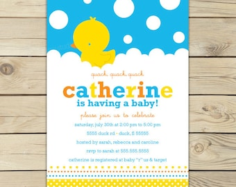 Rubber Duckie Baby Shower Invitations - Rubber Ducky Baby Shower Invitations Printable - Yellow and Blue Boy Baby Shower Invitation
