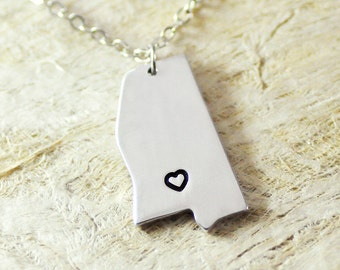 Mississippi Necklace  alloy  925 sterling silver necklace heart necklace Pendant State Necklace State Charm Map necklace Map Jewelry
