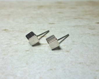 Silver Cube Stud Earrings, Dainty Earrings