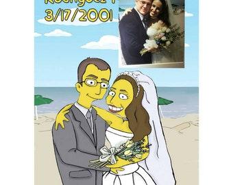 Custom simpson portrait, Yellow portrait from your photo, couple portrait, custom pet portrait, anniversary gift, wedding gift