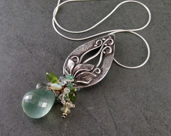 Calla Lily pendant, handmade sterling silver, prehnite gemstone necklace with peridot, moss aquamarine, Welo opal, emerald and keshi pearls