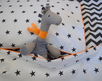 NEW 100% COTTON Children's Cot Bed Duvet Cover Set Black & White orange piping reversible