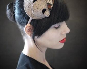 Tan Felt Headband - Helix Series - Fall Fashion - Made to Order