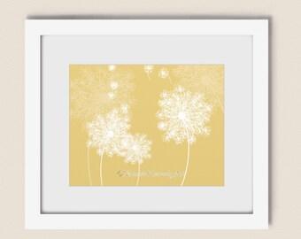 Blowing Dandelion Wall Art Print 11 x 14, Yellow Wall Decor for Home, Dandelion Seed Girls Room Art Print (198)